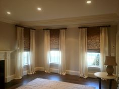 Custom Drapes with Woven Wood Shades, I thought to do this in our family room or bedroom Bedroom Windows, Living Room Windows, Bedroom Blinds, Window Curtains, Master Bedroom, Woven Blinds, Woven Wood Shades, Custom Drapes, Stores