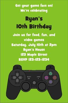 Playstation Xbox Video Game Invitation Personalized Party Invites