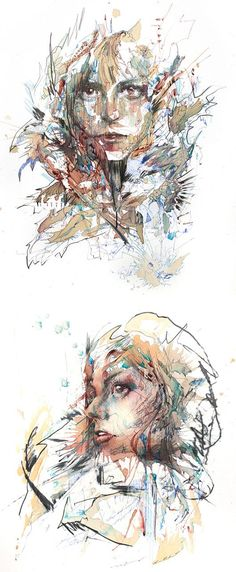 Tea, Vodka, Whiskey and Ink Portraits - Carne Griffiths