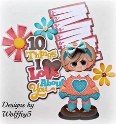 ELITE4U GIRL love paper piecing premade scrapbook page album TITLE WOLFFEY5