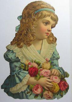 Victorian Die Cut Embossed Scrap Little Girl with Bundle of Roses