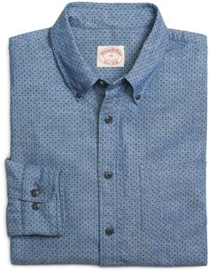 $89, Brooks Brothers Chambray Dot Print Sport Shirt. Sold by Brooks Brothers. Click for more info: https://lookastic.com/men/shop_items/197352/redirect