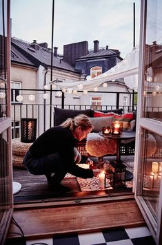 Evening on the hygge balcony Interior Exterior, Exterior Design, Ikea Interior, Outdoor Spaces, Outdoor Living, Outdoor Sheds, My Dream Home, Porches, Home Deco
