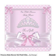 Princess Baby Shower Girl Pink Polka Dots Bow 5.25x5.25 Square Paper Invitation Card