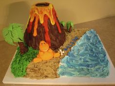 Customer requested a volcano cake that would actually 'Erupt! The volcano has a Luau Birthday, Dinosaur Birthday Party, Birthday Parties, Birthday Ideas, Birthday Cake, Dino Cake, Dinosaur Cake, Raspberry Smoothie, Apple Smoothies