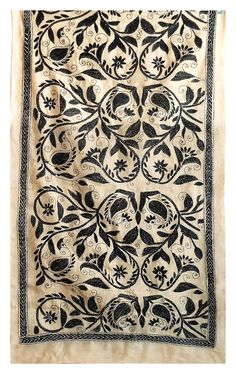 Black Kantha Embroidery on Beige Tussar Stole (Tussar)