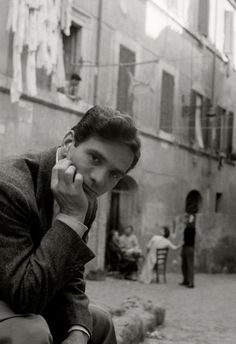"""Herbert List     Writer/Director Pier Paolo Pasolini, Trastevere, Rome     1953    """"Nothing remains but to hope the end will come to extinguish the unrelenting pain of waiting for it."""" Pier Paolo Pasolini"""