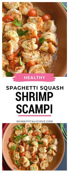 Packed with flavor and simple … Healthy low carb Shrimp Scampi Spaghetti Squash! Packed with flavor and simple to make. Healthy Gluten Free Recipes, Low Carb Dinner Recipes, Heart Healthy Recipes, Lunch Recipes, Seafood Recipes, Whole30 Recipes, Healthy Low Calorie Meals, Healthy Meal Prep, Low Calorie Recipes