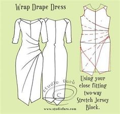 The Wrap Drape Dress - Sampled. Many more pattern making posts in my FREE Members Area. Drape Dress Pattern, Pattern Draping, Dress Sewing Patterns, Sewing Patterns Free, Clothing Patterns, Jumpsuit Pattern, Knitting Blocking, Make Your Own Clothes, Dress Tutorials