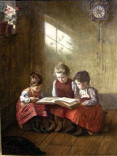 """""""A Good Picture Book"""", by Walter Firle (German, 1859-1929)"""