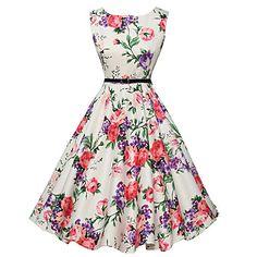 Dame+Vintage+Linie+A+/+Patinatoare+Rochie-Floral+Fără+manșon+Rotund+Lungime+Genunchi+Alb+Poliester+Vară+Talie+Medie+–+USD+$+10.99