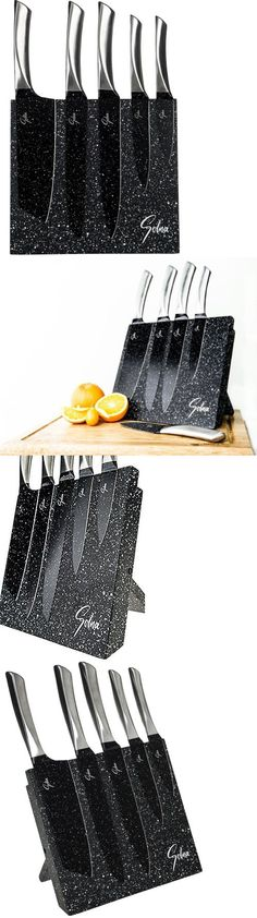 Knife Blocks and Storage 20638: Knife Set With Block Cutlery Knives Stainless Steel Magnetic 5 Pc Kitchen Modern -> BUY IT NOW ONLY: $60.99 on eBay!