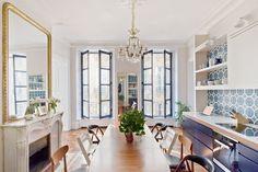 Blue and white Paris kitchen Parisian Apartment, Paris Apartments, Apartment Kitchen, Luxury Apartments, Apartment Design, Apartment Living, Blue Kitchen Cabinets, Kitchen Tile, Kitchen Dining