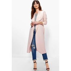 Boohoo Katie Belted Shawl Collar Duster ($30) ❤ liked on Polyvore featuring outerwear, coats, blush, shawl collar coat, white coat, puffy coat, white wrap coat and puff coat