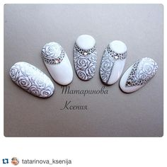Likes, 8 Comments – Ekaterina MIroshnichenko (Ekaterina Miroshnichenko) on… Bride Nails, Wedding Nails, Beautiful Nail Designs, Beautiful Nail Art, Nail Art Designs, Vintage Nails, Bridal Nail Art, School Nails, Flower Nail Art