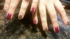 Feather nails with Shellac polish in Tango Passion.