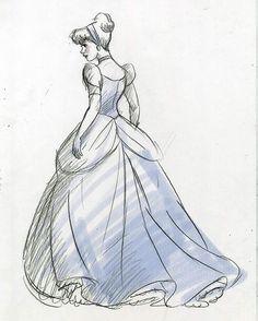 Cinderella in her ball gown, illustration, Disney's Cinderella Disney Princess Drawings, Disney Princess Art, Disney Sketches, Disney Drawings, Princess Aurora, Aladdin Princess, Flame Princess, Princess Bubblegum, Cinderella Sketch