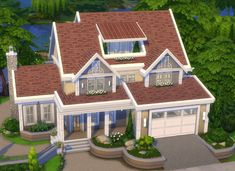 — Beaverhill * NoCC - created by Lotes The Sims 4, Sims Four, Sims Cc, Sims 4 House Plans, Sims 4 House Building, Family House Plans, Sims 4 Family, Muebles Sims 4 Cc, Sims 4 House Design
