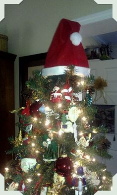 Don't have a topper for your tree?? Buy a Santa hat! Cute and festive!