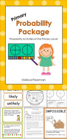 This primary probability math resource has worksheets, activities, word wall words, posters, a match game, and a test. It is aimed at 2nd grade, but some activities can be used in 1st grade and 3rd grade as well.