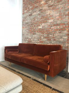 sofacompany.com brings you Danish designed original furniture...  Harper 3-seater in Velour Rust with Oak Legs Velour Sofa, Apartment Projects, Danish, Rust, Couch, Display, Living Room, Studio, The Originals
