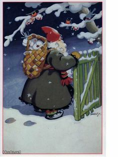 Martta Wendelin - Finland, Nordic Thoughts: Father Christmas and his birch bark backpack. Christmas Scenes, Father Christmas, Christmas Pictures, Christmas And New Year, Vintage Christmas, Christmas Holidays, Christmas Cards, Xmas, Merry Christmas