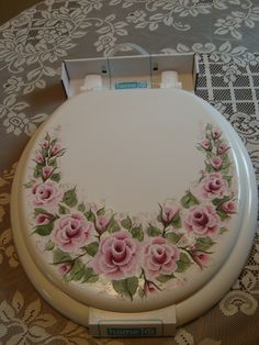 Image detail for -Shabby Cottage Chic Hand Painted Victorian Pink Rose New Toilet Seat ...