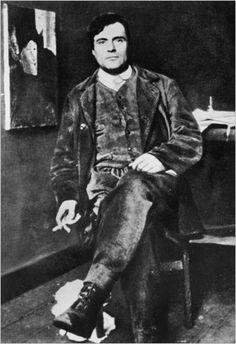 Amedeo Modigliani em 1916 no seu ateliê