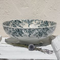 French antique ironstone transferware bowl, antique fruit bowl, shabby chic, footed bowl, green transferware, cottage chic, country home by LaBonneVie72 on Etsy