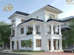 Luv ♥️ the blue and white and many terraces. Bungalow House Design, House Front Design, Classic House Design, Modern House Design, Neoclassical Architecture, Modern Architecture, Bungalows, Contemporary House Plans, Castle House