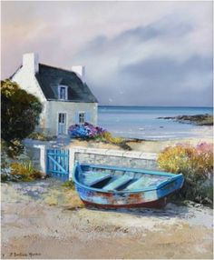 Landscaping watercolor boat Ideas for 2020 Seascape Paintings, Cool Paintings, Landscape Paintings, Watercolor Paintings, River Rock Landscaping, Landscaping On A Hill, Boat Painting, House Painting, Backyard Layout
