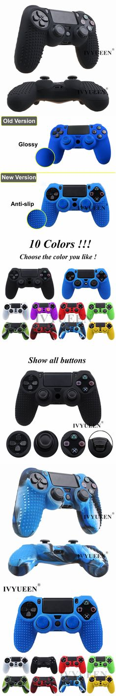 IVYUEEN 2 in 1 Studded Anti-slip Silicone Cover Skin Case for Sony PlayStation Dualshock 4 PS4 Pro Slim Controller & Stick Grip
