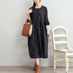 2017 black summer striped dresses plus size cotton sundress half sleeve maxi dressThis unique deisgn deserves the best quality texture. The fabric of this article is soft, comfortable and breathy.Flattering cut. Makes you look slimmer and matches easlily with jeans, leggings stylish pants or skirts. Measurement: One size fits all for this item. Please make sure your size doesn't exceed this size: BUST-134cm      length 112cm / 43.68