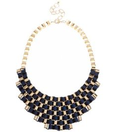 Navy Woven Ribbon Chain Necklace