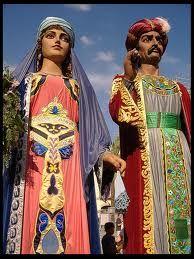 El Gegant de la Porra i la Geganta Medieval, Barcelona, Sari, Traditional, Tattoos, Dresses, Fashion, Dancing, Party
