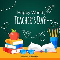 Teacher and children boyand girl with banner World Teacher Day, World Teachers, Teachers Day Wishes, Happy Teachers Day, Design Plano, Education Banner, Software, Teachers' Day, College Fun