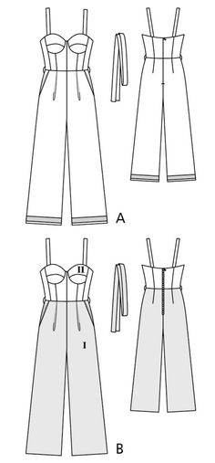 BurdaStyle is a community website for people who sew or would like to learn how. Flat Drawings, Flat Sketches, Clothing Patterns, Sewing Patterns, Designer Jumpsuits, Jumpsuit Pattern, Fashion Project, Fashion Design Sketches, Cosplay Outfits