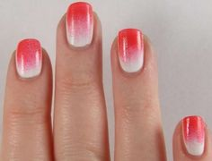 Red and white gradient nail art :: one1lady.com :: #nail #nails #nailart #manicure
