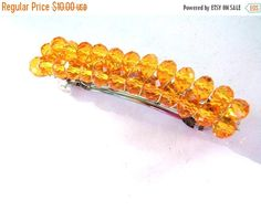 ON SALE Orange Crystals Hair Barrette, Silver Hair Barrette, Crystals Hair Clip, Orange Hair Accessory, Shiny Barrette, Fall Hair Accessory by TerriJeansAdornments on Etsy
