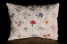 I've daydreamed of doing a cathedral window quilt, but maybe I'll just do a little pillow! How cute!