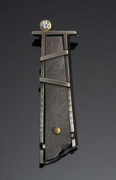 Margaret Dittrich Pendant meteorite, diamond, sterling silver