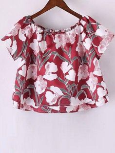 #AdoreWe #Zaful Zaful Short Sleeve Off The Shoulder Floral Print T Shirt - AdoreWe.com