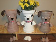 Dog Puppy Pot Person Planter Made From Terracotta Pots Painted & Sealed To Resist He Weather Flower Pot Art, Flower Pot Design, Flower Pot Crafts, Flower Pots, Flower Pot People, Clay Pot People, Clay Pot Projects, Clay Pot Crafts, Terracotta Plant Pots
