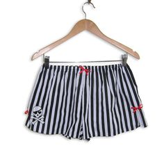 Boxer Shorts with Pirate Skull Tattoo  Black and by Dollydripp, £16.50