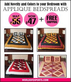 Bright bedspread.  Comfortable and functional bed sheet Striking applique work.