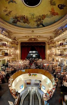 This is the bookstore El Ateneo in Buenos Aires and believe it or not this was actually a real theatre and then a movie theatre before it became a bookshop. We at World Book Night especially like the mix of modern design with original building features, as it illustrates just how important all books are, old and new.