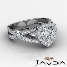 Halo Pront Set Heart Shape Diamond Engagement Ring GIA I SI1 Platinum 950 1 9 Ct | eBay
