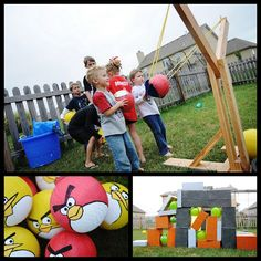 Angry Bird party and slingshot