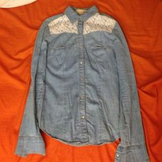 Jean & lace button up the pockets aren't real. the fabric isn't actually denim. small amount of lace at the top. Fun & Flirt Jackets & Coats