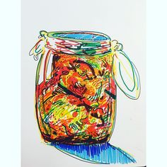 Work copyright  Andrew Oyl Miller oylmiller@gmail.com Society6 Shop - Instagram - Facebook We made kimchi last night. In a week we'll know how we did. So far it looks and smells on point!  #drawing #art #food #illustration #ink #color #korea #kimchi
